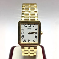 25mm PIAGET 18K Solid Yellow Gold Unisex Watch w/ Gold Bracelet in Box