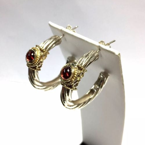 Gorgeous GARNET HOOP EARRINGS 14K Yellow Gold & 925 Sterling Silver