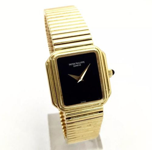 PATEK PHILIPPE 18K Solid Yellow Gold Ladies Watch w/ Black Dial & Gold Bracelet