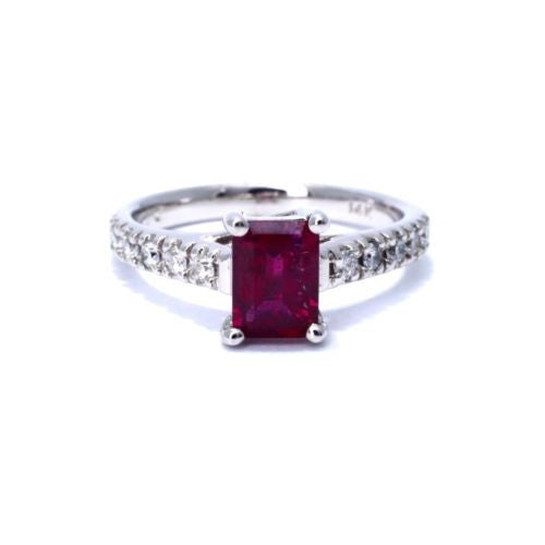 14K White Gold RUBY 1.2 TCW RING w/ DIAMONDS 0.5 TCW G VS-SI Size 6.75, 3.8g