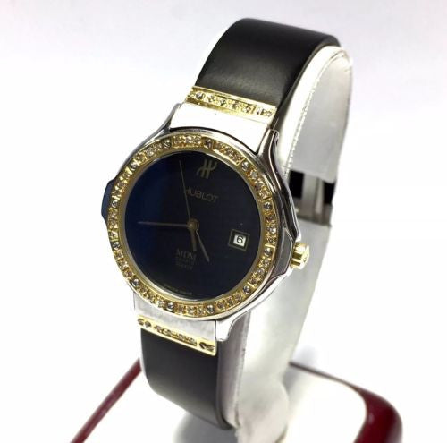 HUBLOT 18K Yellow Gold & SS Ladies Watch w/ Diamond Bezel, Black Rubber