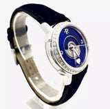"PERRELET ""Lady Coeur"" SS Ladies Watch w Diamond Bezel & Blue Velvet Leather Band"