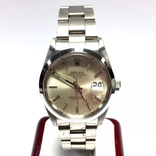 34mm ROLEX OYSTER PERPETUAL DATE Steel Unisex Watch w/ Silver Dial In Box