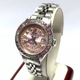 ROLEX OYSTER PERPETUAL DATEJUST Steel Ladies Watch PINK FLOWER Dial DIAMONDS PINK SAPPHIRES