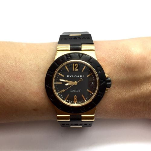 BVLGARI 18K Yellow Gold & Titanium Automatic Unisex Watch w/ RUBBER BAND in Box
