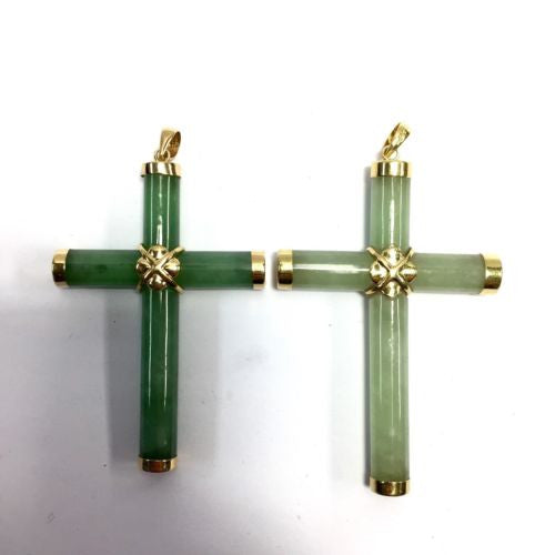 Large 14K Yellow Gold EMERALD CROSS PENDANT