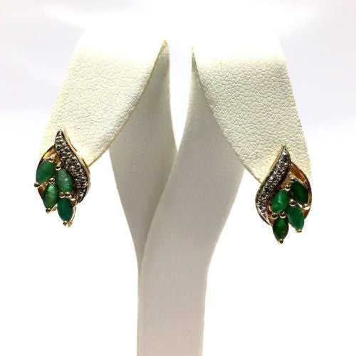 Gorgeous Gold-Plated 925 Sterling Silver EMERALD EARRINGS w/ DIAMONDS, 2.9g