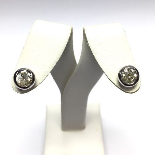 New 14K Solid White Gold DIAMOND STUDS Earrings 8.1mm 1.45 TCW