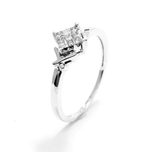 Stunning 14K White Gold RING w/ DIAMONDS 0.25 TCW, Size 7.25 Resizable, 2.1g