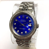 ROLEX OYSTER PERPETUAL DATEJUST Steel Men's Watch w/ Blue Dial & DIAMONDS Bezel