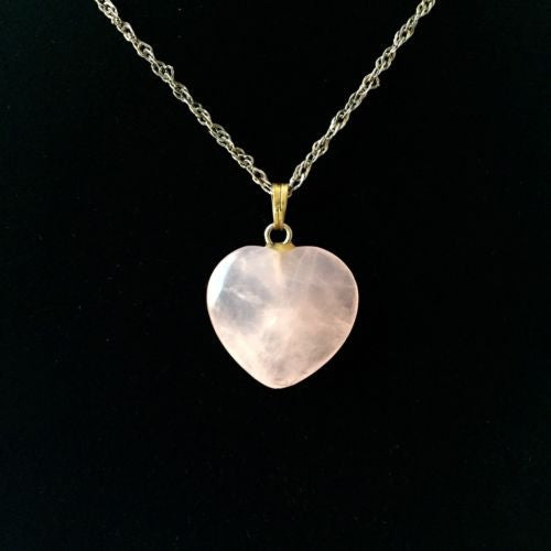 Sterling Silver ROSE QUARTZ LOVE PENDANT Stamped .925, 27 Inches Long, 6g