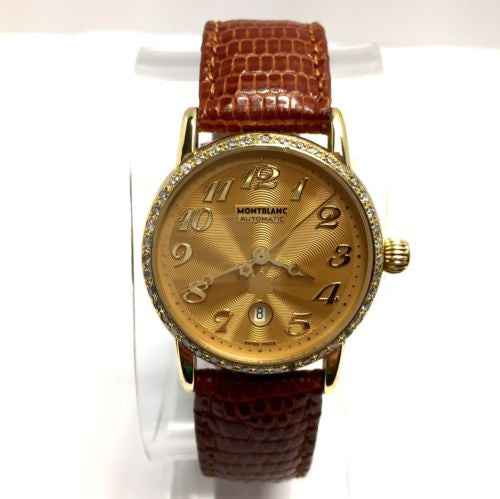 MONTBLANC MEISTERSTUCK 18K Yellow Gold Ladies Watch w/ DIAMOND Bezel In Box