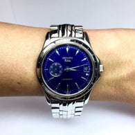 ZENITH ELITE Stainless Steel Automatic Men's Watch w/ Blue Dial In Box
