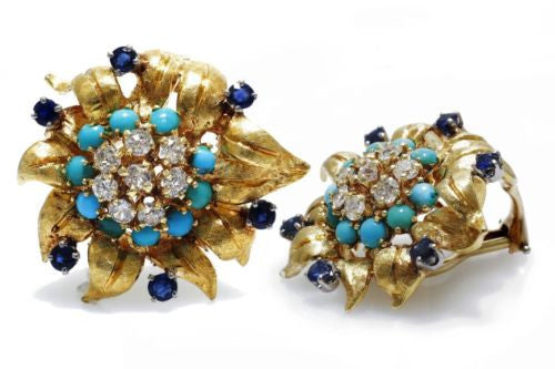 ART DECO Vintage 18K Yellow Gold EARRINGS w/ DIAMONDS 1TCW SAPPHIRES & TURQUOISE