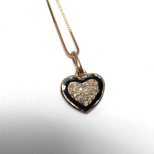 14K Solid Rose Gold HEART PENDANT w/ DIAMONDS 0.10 TCW 1.9g