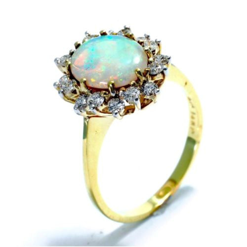 Gorgeous 14K Yellow Gold OPAL RING w/ DIAMONDS 0.5 TCW Size 8 Resizable, 4g