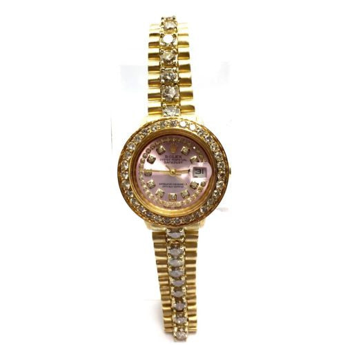 ROLEX OYSTER PERPETUAL DATEJUST 18K GOLD Ladies Watch w/ LARGE DIAMONDS In Box