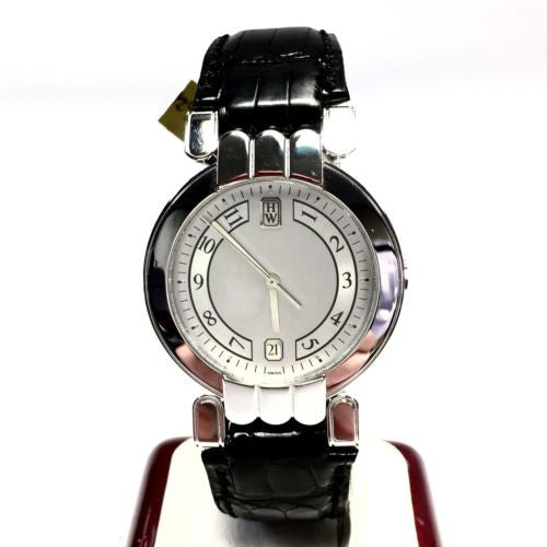 HARRY WINSTON 18K Solid White Gold Men's Watch w/ Original Black Band
