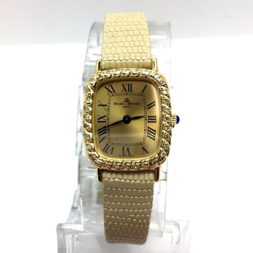 BAUME & MERCIER 18K Yellow Gold Ladies Watch w/ Diamonds & New Beige Band In Box