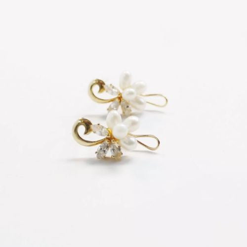 Gorgeous 14K Yellow Gold Earrings w/ Natural White Pearls & CZ