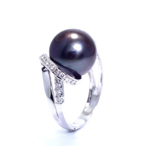 18K White Gold WHITE PEARL RING w/ DIAMONDS 0.36 TCW G VS-SI Size 6.5 Resizable