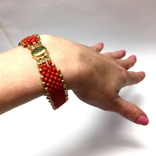 Gorgeous CORAL BRACELET w/ 18K Yellow Gold Details Stamped 750, 8.25 Inches Long