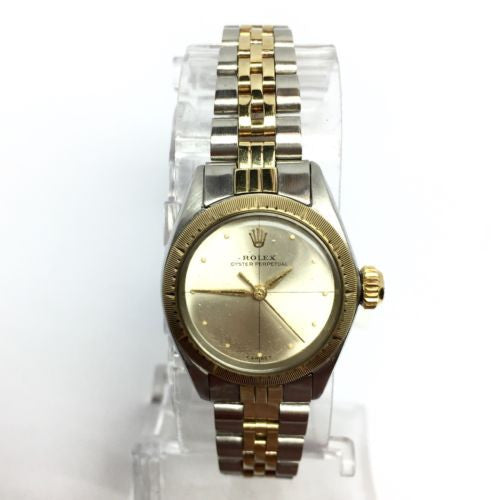 Vintage ROLEX OYSTER PERPETUAL 2 Tone 14K Yellow Gold & Stainless Steel Watch