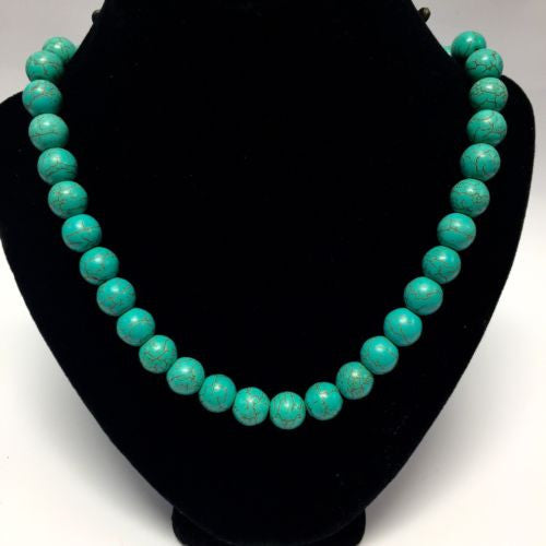 Sterling Silver TURQUOISE NECKLACE 18 Inches Long, 55g