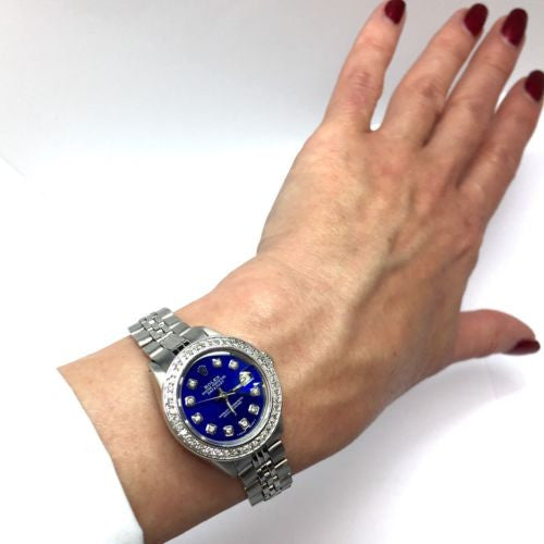 ROLEX DATEJUST Steel Ladies Watch w/ Blue Diamond Dial & Diamond Bezel In Box