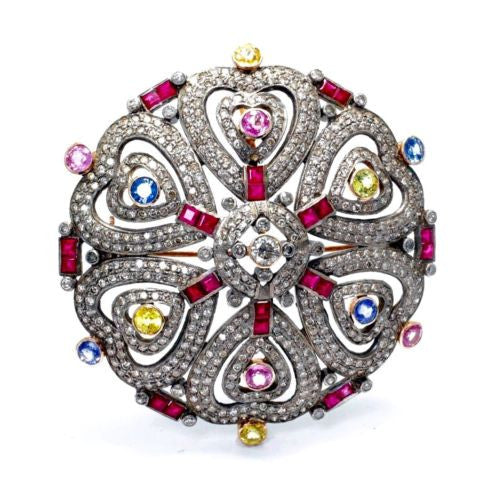 Handmade Estate 18K Gold & Sterling Silver Heart BROOCH w/ DIAMONDS & SAPPHIRES