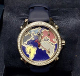 NEW 40.50mm JACOB & Co. 5 Time Zone Steel Unisex Watch FACTORY DIAMONDS In Box