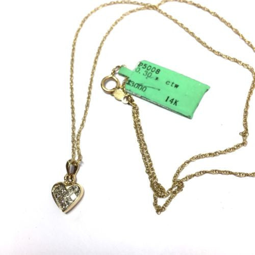 14K Yellow Gold HEART DIAMOND PENDANT w/ Chain 0.3 TCW