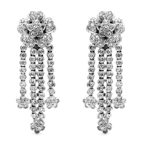 New 18K White Gold Flower Chandelier DIAMOND Earrings 5 TCW, G-VVS, Weight 26.9g