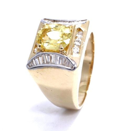 18K Yellow Gold YELLOW SAPPHIRE 2.5 TCW Men's RING w DIAMONDS 0.5 TCW Size 8 Res