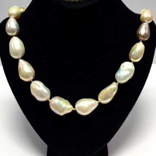 Single Strand 14K White Gold Natural Large Ugly Pearls NECKLACE w DIAMONDS
