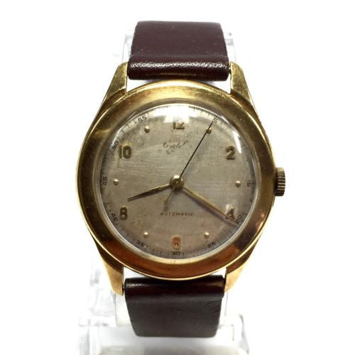 Collectible Vintage 35.5mm 18K Solid Yellow Gold ETNA Men's Watch w/ Brown Strap