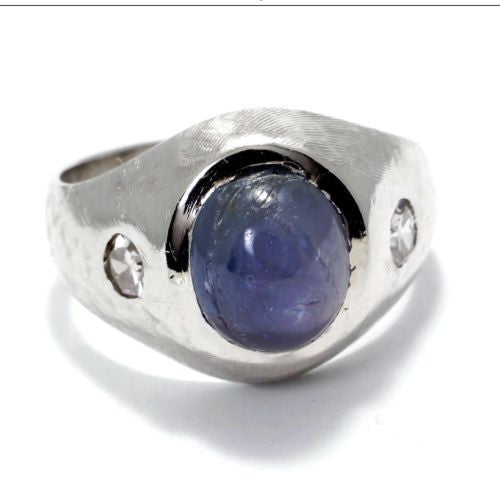 14K White Gold Men's Ring w/ STAR SAPPHIRE 4.75 TCW & DIAMONDS 0.30 TCW Size 8