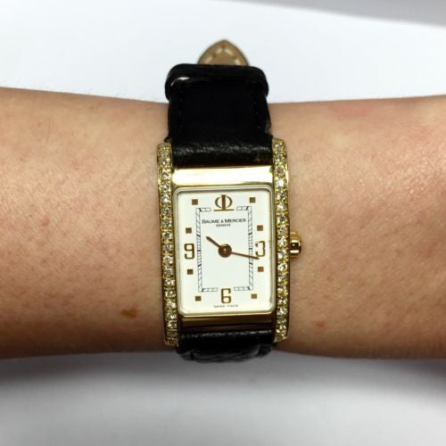 BAUME & MERCIER 18K Solid Yellow Gold Ladies Watch w/ Diamonds & Black Band