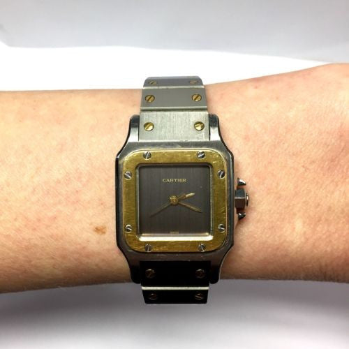 CARTIER SANTOS 2 Tone 18K Yellow Gold & Stainless Steel Automatic Ladies Watch