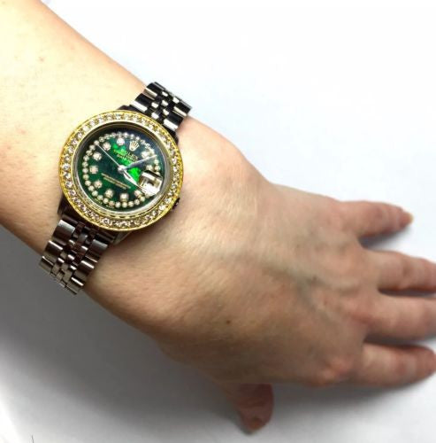 28mm ROLEX OYSTER PERPETUAL DATEJUST SS Ladies Watch w/ Green Dial & DIAMONDS