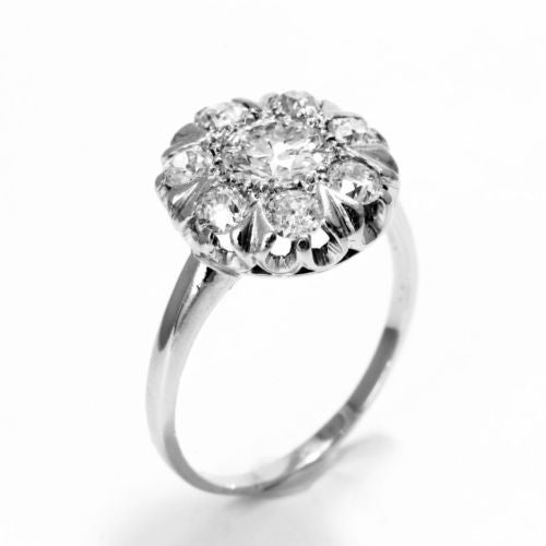 Antique PLATINUM RING w/ Old Mine Cut DIAMONDS 1.45 TCW G, VS2, Size 8 Resizable