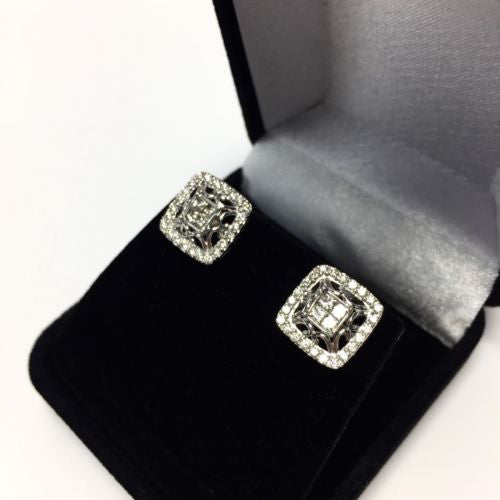 14K Solid White Gold DIAMOND Earrings 1 TCW 4.3g