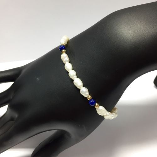 14K Yellow Gold PEARL And LAPIS BRACELET 7 Inches Long Stamped 14K