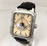 PERRELET Rectangle Royale SS Men's Watch w/ Skeleton Back Case & Black Band