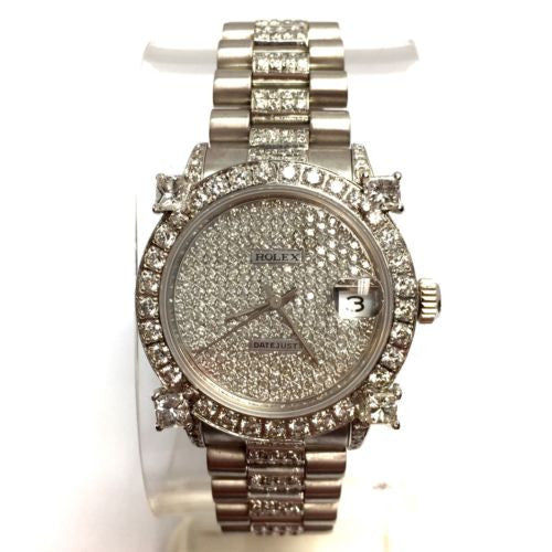 ROLEX DATEJUST 18K Solid White Gold Ladies Watch w/ Diamonds In Box