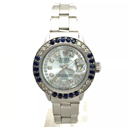 ROLEX DATEJUST Steel Ladies Watch w/ DIAMONDS & Blue SAPPHIRES Stretchy Bracelet