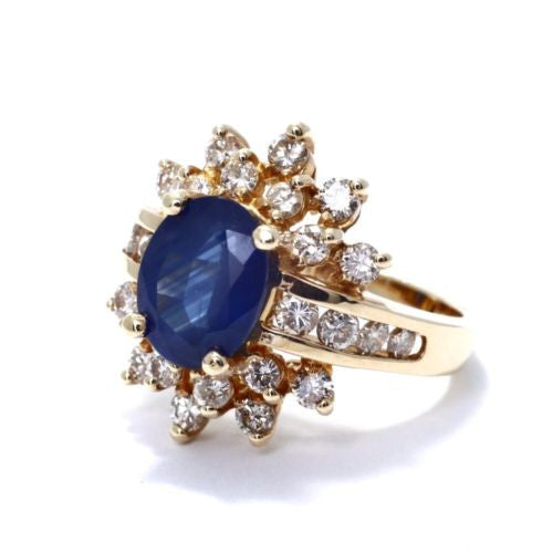 14K Yellow Gold BLUE SAPPHIRE RING 3.02 TCW w/ DIAMONDS 1.22 TCW G VS-SI Size 7