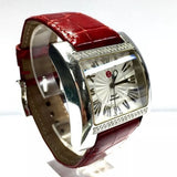 MICHELE DIAMOND Ladies/Unisex Watch w/ 62 DIAMONDS Red Alligator Band, Box
