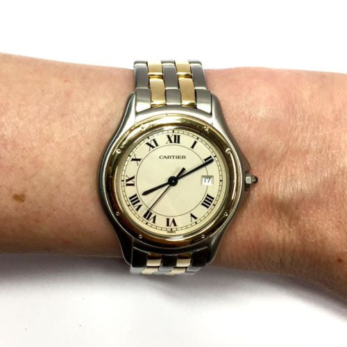 CARTIER COUGER 33mm 18K Yellow Gold & Steel Men's/Unisex Watch In Box