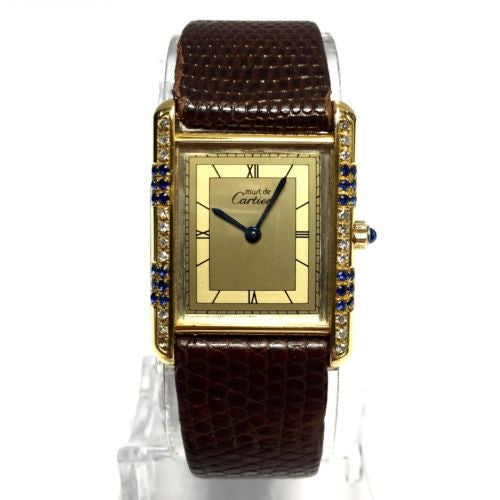 Must De CARTIER TANK GP 925 Argent Ladies Watch w/ DIAMONDS & SAPPHIRES